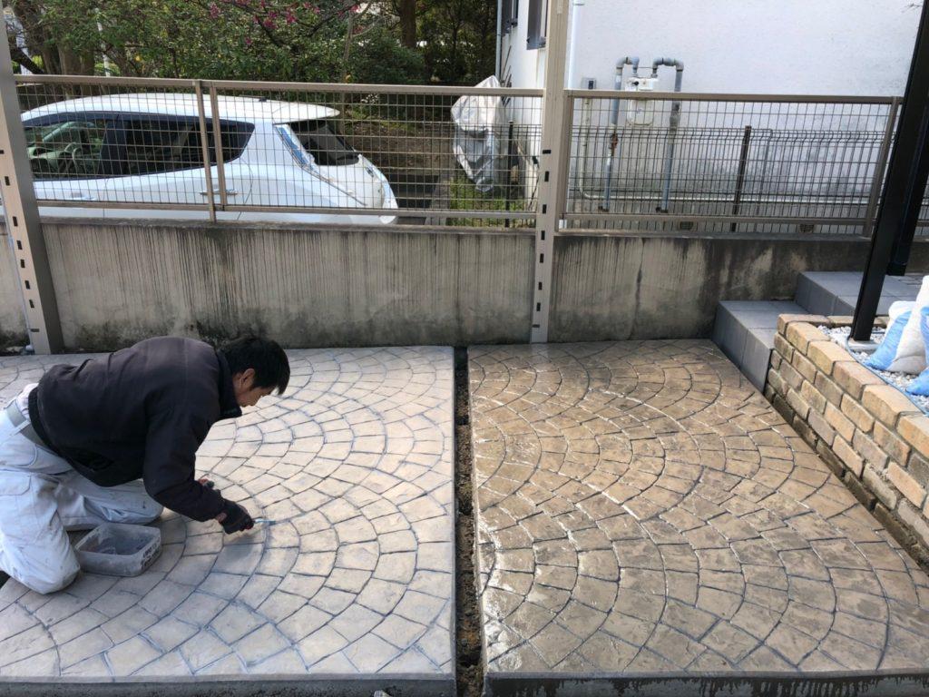 福岡 スタンプコンクリート 駐車場 ブラウン オシャレ