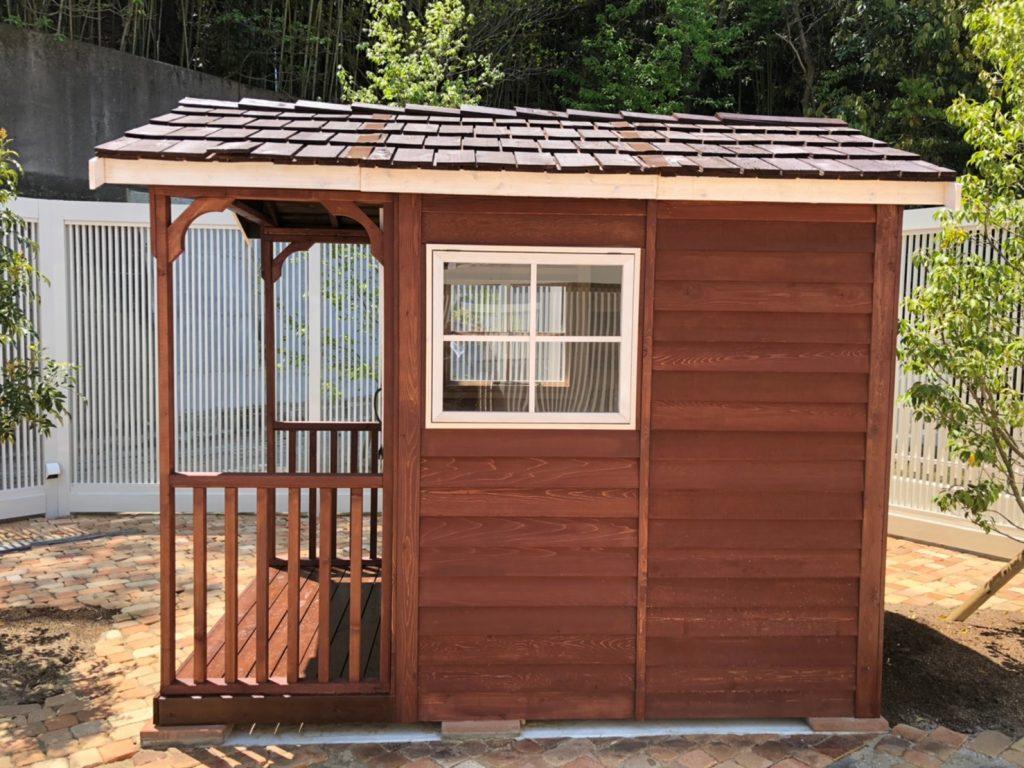 福岡 庭 リフォーム 物置 かわいい 木製 ガーデン オリジナル シダーシェッド J-style ジェイスタイル 赤い物置 木工事 外構