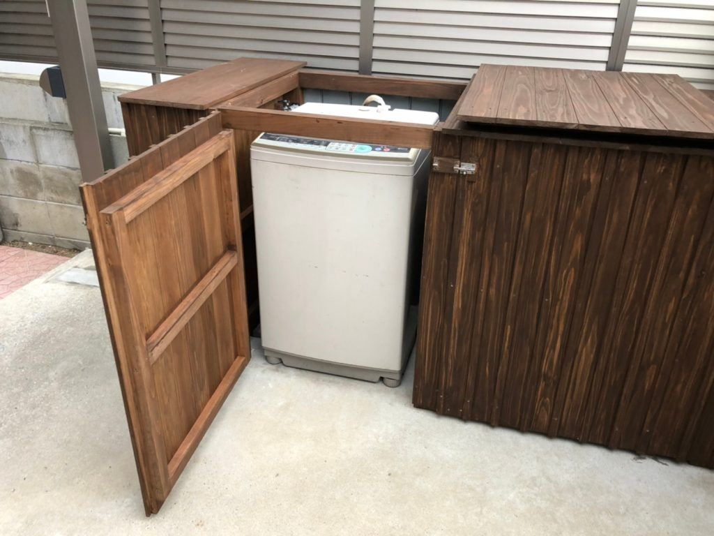 福岡 木工事 エクステリア 洗濯機カバー 木製 大工仕事