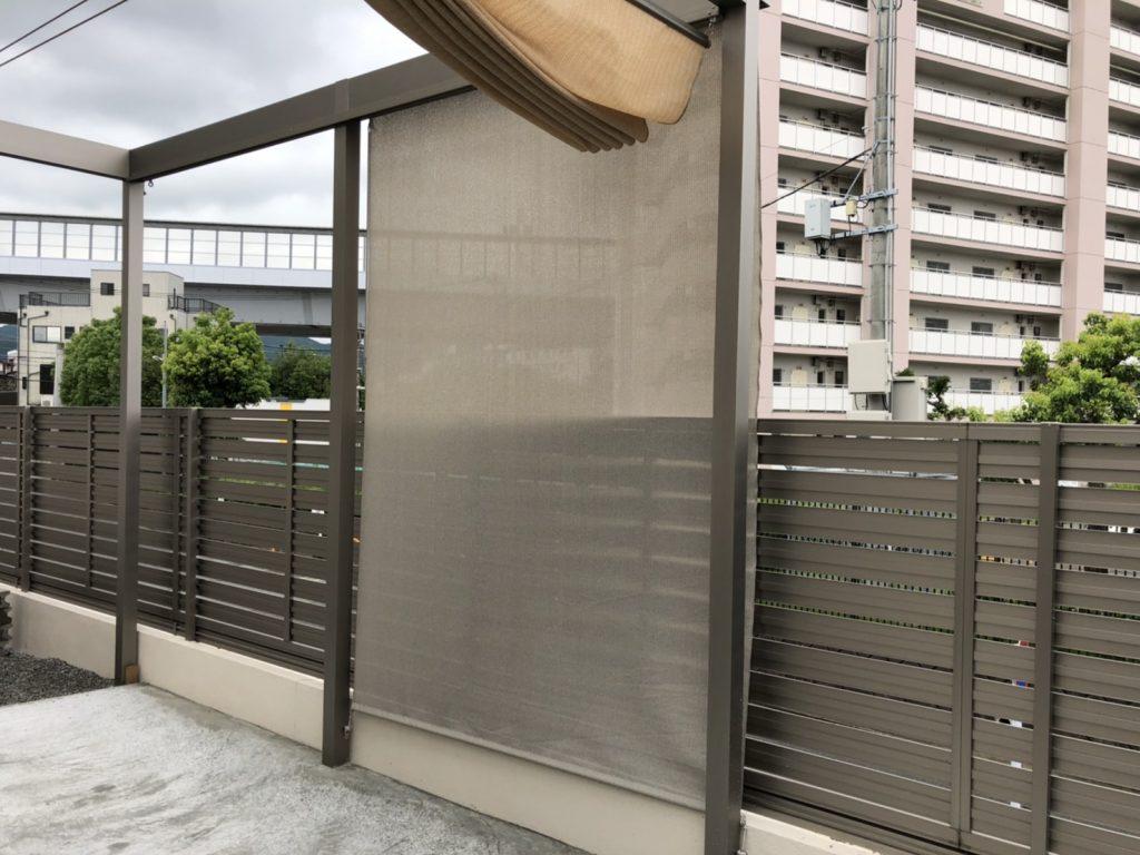 福岡 エクステリア タカショー フレームポーチ ロープ式開閉シェード シェードネット ロールアップブラインド 目隠し 視線隠し 庭 工事 ガーデン シェード 日除け